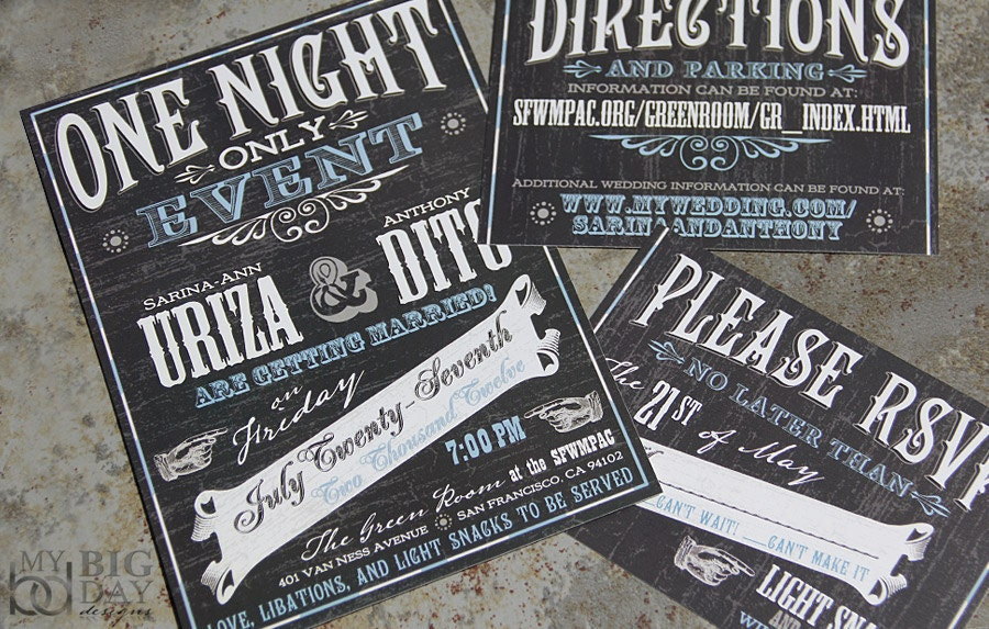 Vintage Vuadeville Chalkboard Art Themed Wedding Invitations.