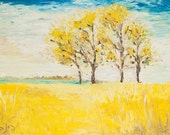 4 trees with yellow leaves- Original oil painting. Fine art  - contemporary Artwork by Dina Argov. Impasto with painters knife.