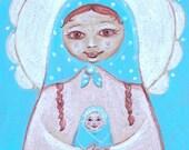 Matryoshka print - New baby. A girl with a blue scarf.  canvas print 5 7 inch / folk art