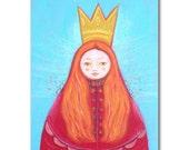 Matryoshka - MODEST QUEEN - orange and blue canvas print 5 7 inch / folk art