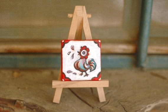 Lucky square no3 - Folk rooster - red and white. Original 2 inches square tiny painting. Original art by Dina Argov