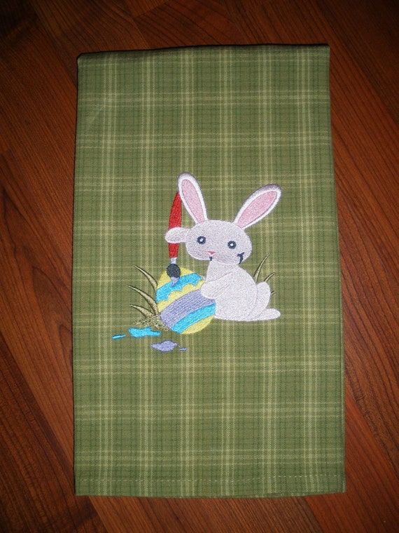 Easter Embroidered Towel - Egg Painting Bunny