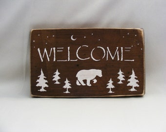 Primative Organic Wood Welcome Sign