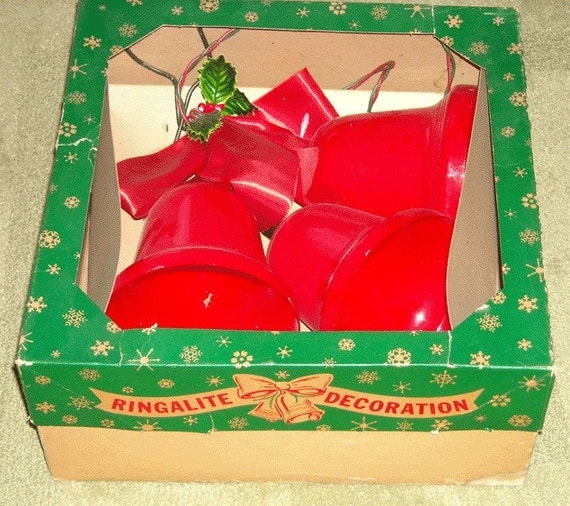 Vintage Large Red Christmas Bell Lights 3 Ringalite