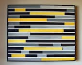 Modern Abstract Wood Sculpture Wall Art - 30x36 - Yellow, Black, Gray and White