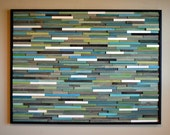 Modern Wood Sculpture Wall Art - 36 x48 -  Skinny Rectangles - Blues, Greens, Turquoise, Grays, and White