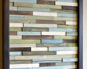 Wood Art -  Skinny Rectangles - 12 x 12 - greens, blues, grays, browns and white