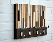 Wood Sculpture with Hooks - Reclaimed wood coat rack