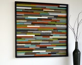 Wood Wall Art - Skinny Rectangles - Reclaimed Wood - Abstract Sculpture