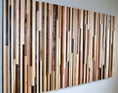 Wood Sculpture Queen Headboard or Wall Art - Lines - 36 x 64