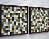 Wood Sculpture Wall Art - Squares - SET - 20x20