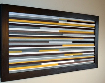 Earthy Modern Wood Sculpture Wall Art - Lines - 22 x 46 - Gray, Brown, Yellow and White