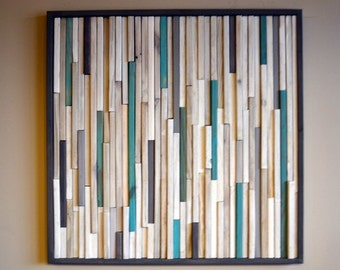 Wood Sculpture Wall Art - 24 x 24 - White, Gray and Turquoise