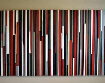 Wood Wall Art Wood Sculpture- Lines - Red, Black, Gray & White