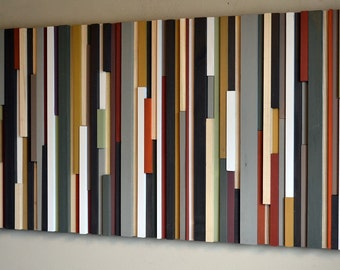 Wood Sculpture Wall Art - Lines - 24 x 48