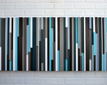 Abstract Painting on Wood -  Reclaimed Wood Art - Wall Art Sculpture 20X60