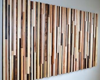 Wall Art - Wood Sculpture Queen Headboard or Wall Art - Lines - 36 x 64