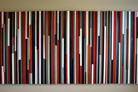 Black And Red Wall Art wood wall art wood sculpture lines red black gray & white
