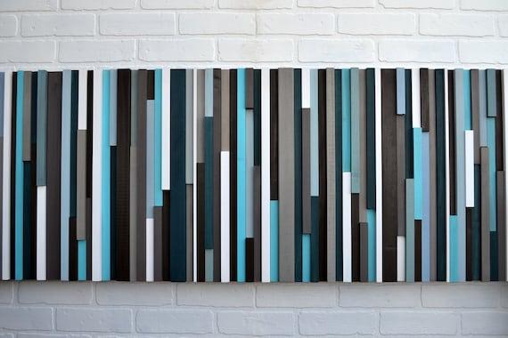 Wood Wall Art - Reclaimed Wood Art Queen Headboard - Wood Sculpture