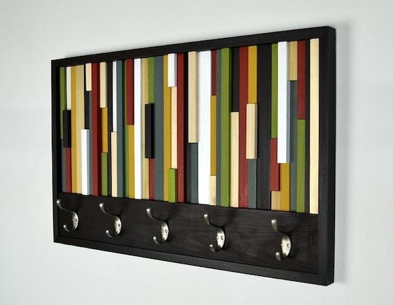 Coat Hooks - Reclaimed Wood Art - Abstract Painting on Wood - Coat Rack 18X30