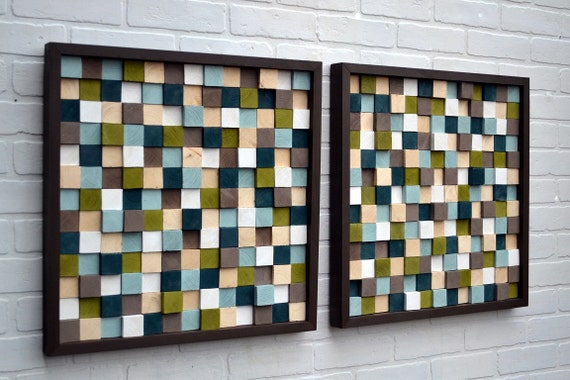 Wood Sculpture Wall Art - Squares - SET - 20x20