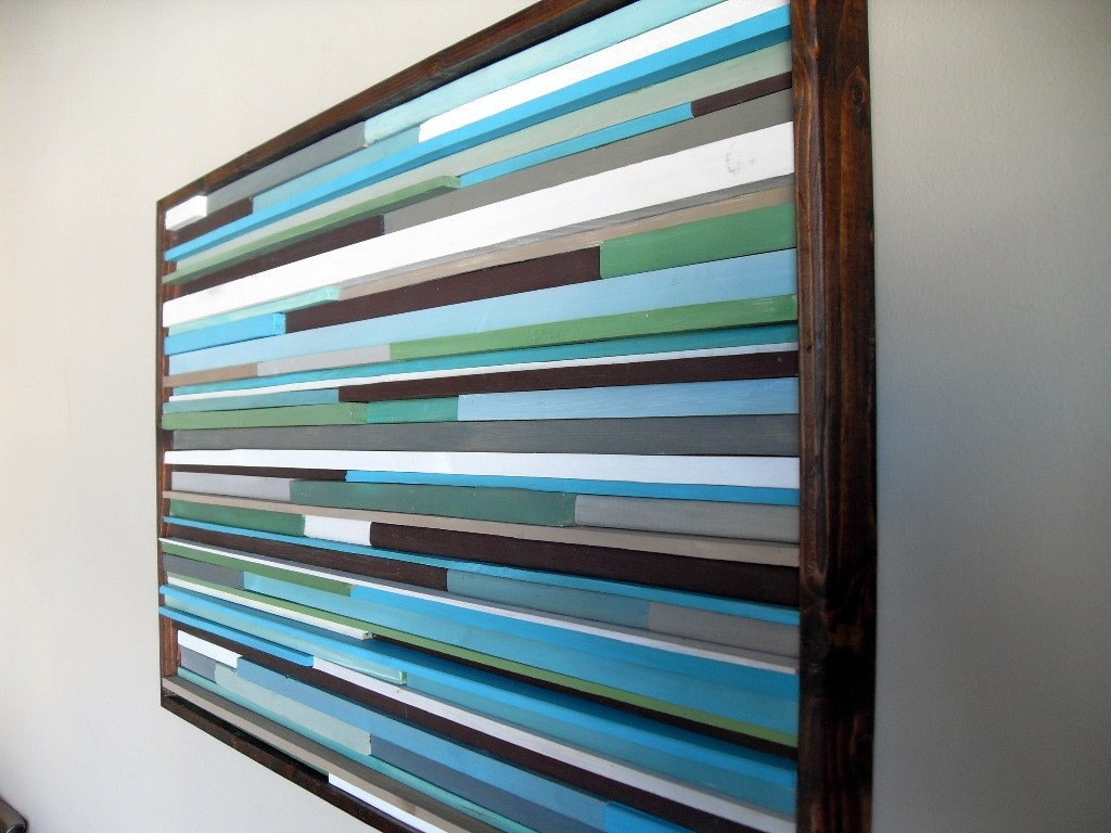 Abstract painting on wood wall art from reclaimed wood for Mural on wood