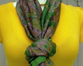 Kelly green Recycled sari silk long neck scarf, spring summer accesories
