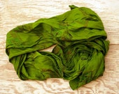 Kelly green Recycled sari silk scarf 20 x 68 inches.woman neck accesories