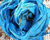 Paisley blueTurquoise- Silk Scarf - woman FALL WINTER  accesories...Recycled sari