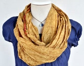 Infinity Scarf  silk  recycled tan woman neck accesories T