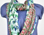 Infinity Scarf  silk  recycled floral red green blue woman neck accesories V