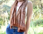 Silk Scarf   Recycled paisley tan woman accesories T