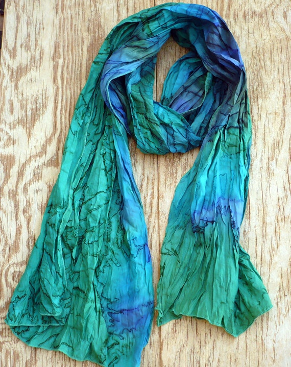 Recycled sari long neck silk scarf woman accesories