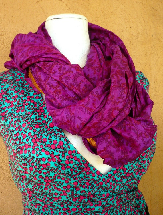 Scarf Upcycled Silk   Woman Accesories..Recycled Sari,Paisley Violet red - fall winter- woman accesories