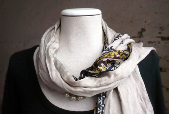 Scarf  floral Recycled accesories Silk Scarves Fall Winter woman christmas gift... delicade complement nat