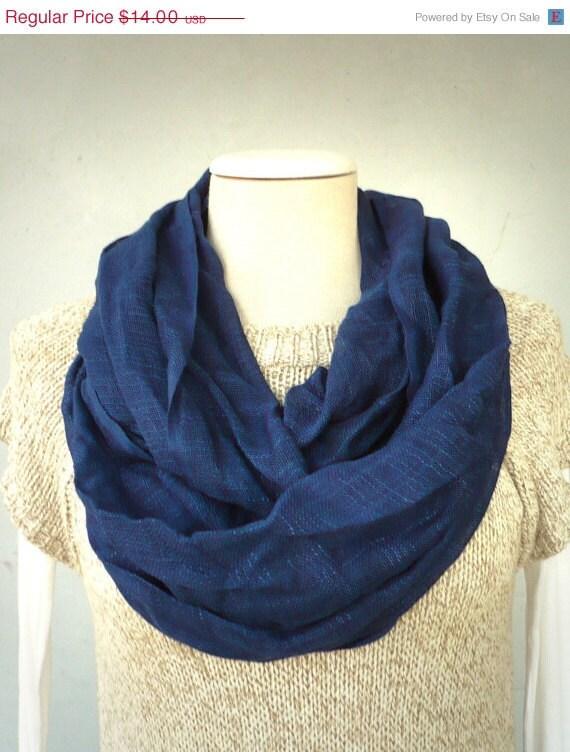 ON SALE On Sale Soft Viscose Navy blue lnfinity , loop , circle scarf