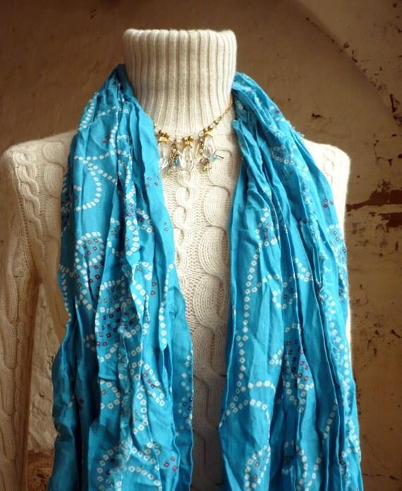 turquoise Silk Shawl..Raw edges... abstract desings...  woman accesories-Recycled Silk Sari TUA