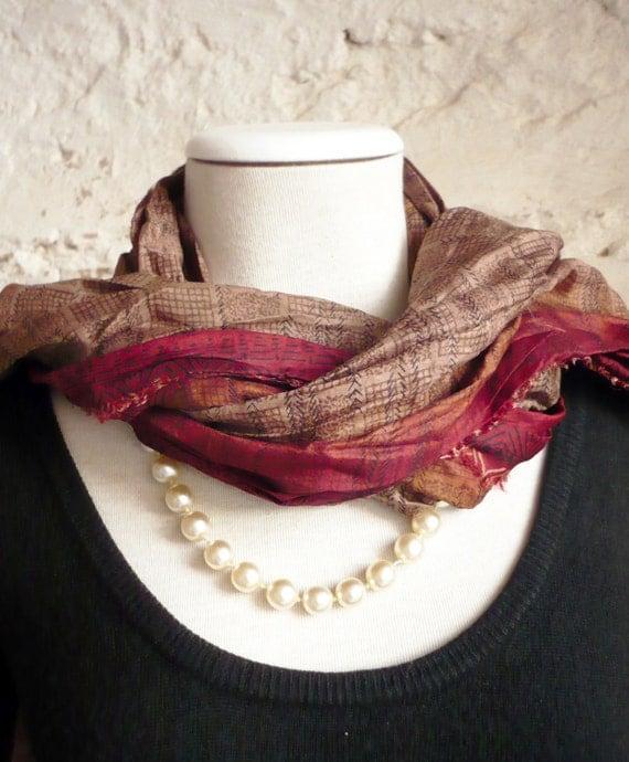 Silk scarf handmade Raw Silk edges Shawl  woman accesories-Recycled Silk Sari