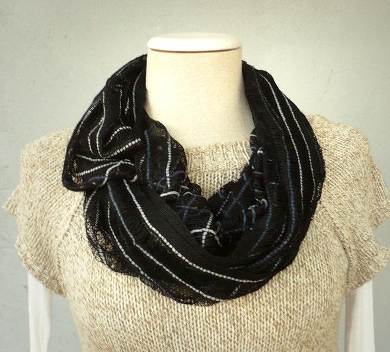 lnfinity loop scarf .,circle  Funny...Viscose striped Black