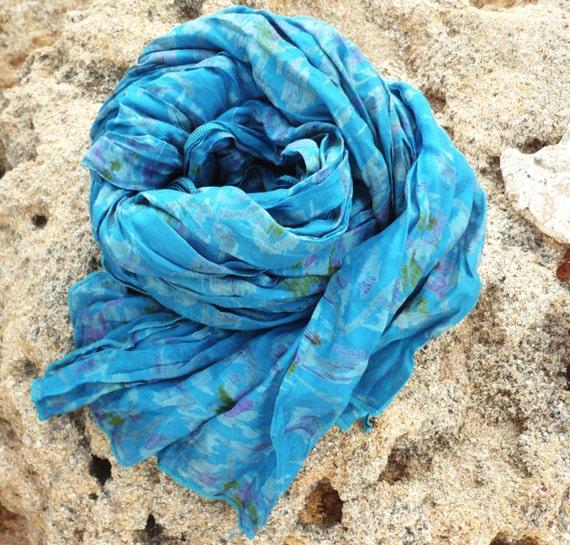 Silk Scarf   Recycled blue Sari woman accesories TUA