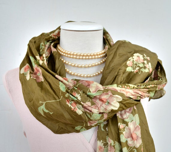 Pareo...Silk Shawl ..woman accesories floral  green  Recycled Silk Sari V