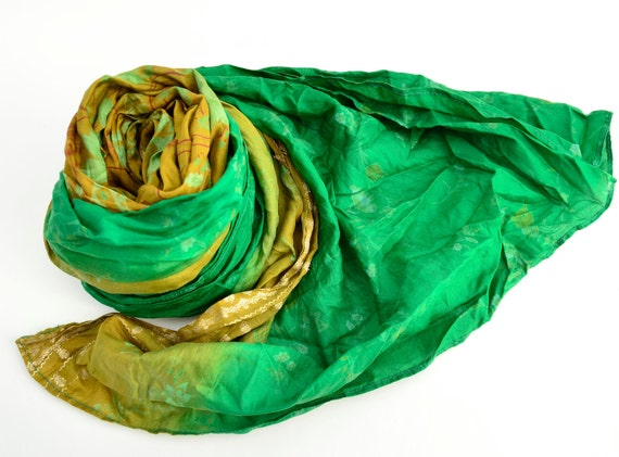 Silk Scarf colors summer  Recycled  floral Sari woman accesories amo