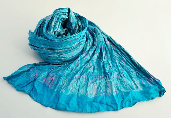 Silk Scarf   Recycled  turquoise  woman accesories Tua