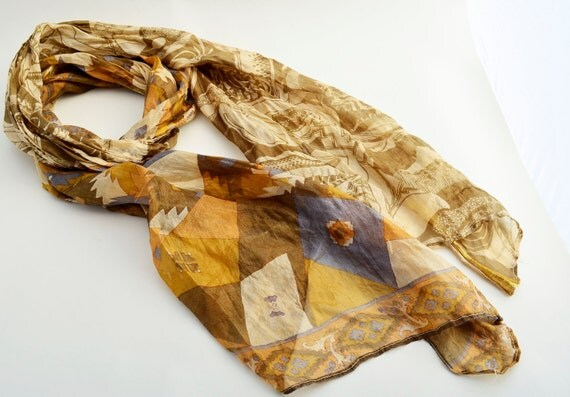 Silk Scarf   Tan Recycled  woman accesories T