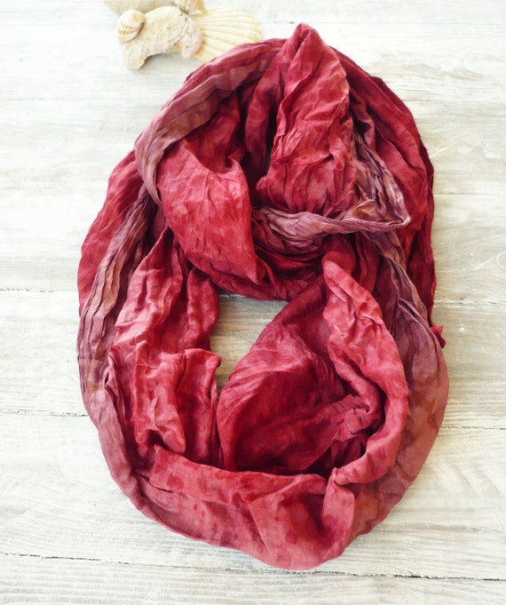Infinity Scarf red recycled sari silk, Wearable Woman  accesories R