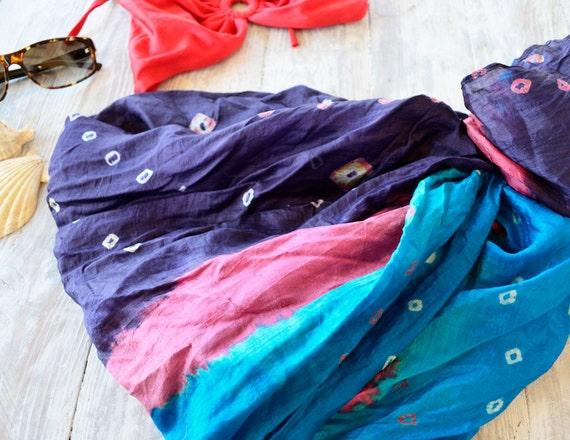 Pareo Silk.. tie dye blue .shawl. summer   woman accesories Recycled Silk Sari... mu