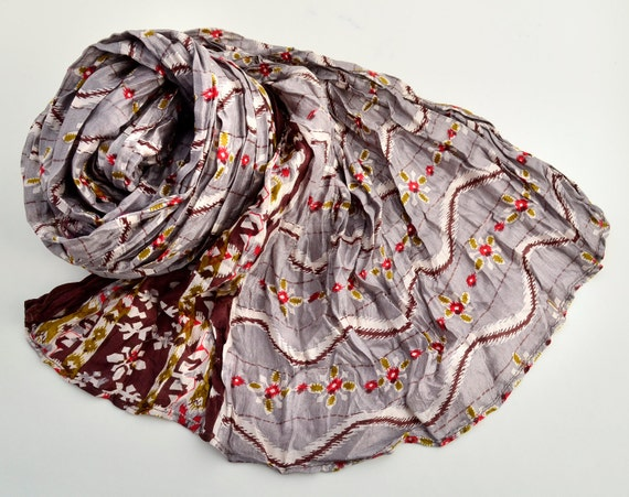 Silk Scarf Recycled wrap accesories  Silk Scarves woman  ideal romantic Gr
