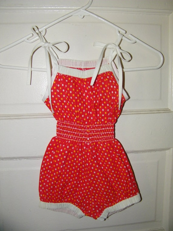 Vintage Polka Dotted Red Baby Girl Short and Strap Jumper Size 3