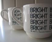 RESERVED Set of 2 Vintage BRIGHT R.J. Reynolds Advertising Mugs