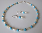 No. 35 - Petite Pearl and Faux Turquoise Choker and Earrings Set